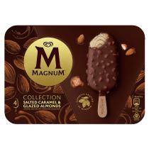 PNG - Magnum Collection Eis für den feinen Eiscreme Genuss Salted Caramel & Glazed Almonds mit Kakao aus Rain-Forest-Alliance-zertifiziertem Anbau 90 ml 4 Stück
