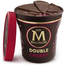 Double Cherry Truffle Ice Cream Tub Lid Off